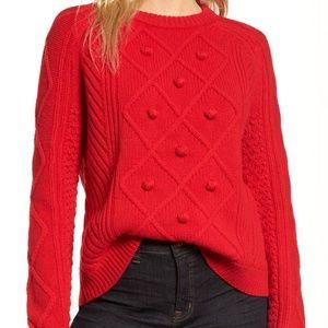 NWT J. Crew Cable Pom Pom Sweater in Merino Wool